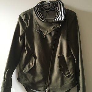 Veronica Beard Green Army Jacket w/ Striped Dickey